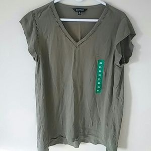 Women's Cap Sleeve Top, XL, Green, New w/o Tag